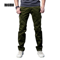 2017 New Men Solid Color Active Pants Army Green Sweatpants Straight Full Length Cargo Pants Men