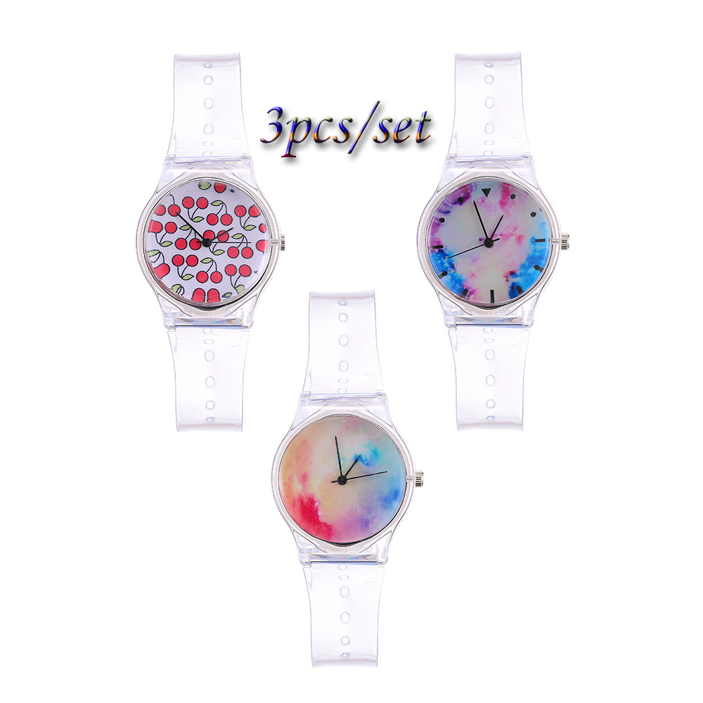 2018 new fashion Silicone Watch 3PCS/set Womens Watches round Sport Casual female Quartz Transparent Cartoon Ladies Watch clock2018 new fashion Silicone Watch 3PCS/set Womens Watches round Sport Casual female Quartz Transparent Cartoon Ladies Watch clock