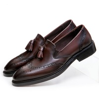 Fashion Slim Black Brown Tan Flats Mens Weddng Shoes Genuine Leather Loafers Dress Shoes Mens Formal