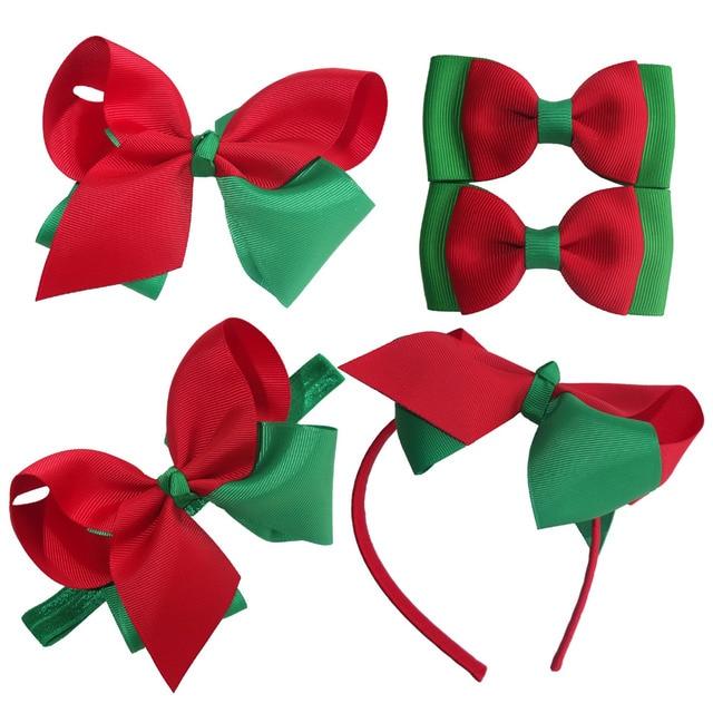 Christmas Hair Clips.Us 1 2 Christmas Hair Bow Christmas Gift Children Girls Hair Bow Hair Clips Elastic Headband Hairband Holiday Hair Bows Red Green Bows In Hair