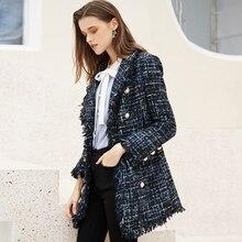 Dark blue tweed coat Medium-long one-piece Autumn/winter women's jacket New Smal