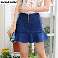 Fishtail Jeans Skirts 2017 Summer Women's Flounce Faldas Saia Ladies Casual Denim Short Skirt XS-3XL