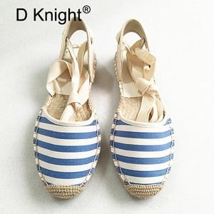 Image 3 - Düz kadın sandalet Espadrille ayakkabı kadın 2019 yaz rahat ayakkabılar loaferlar kadın ayak bileği kayışı sandalet örgü ayakkabı beyaz kenevir ayakkabı