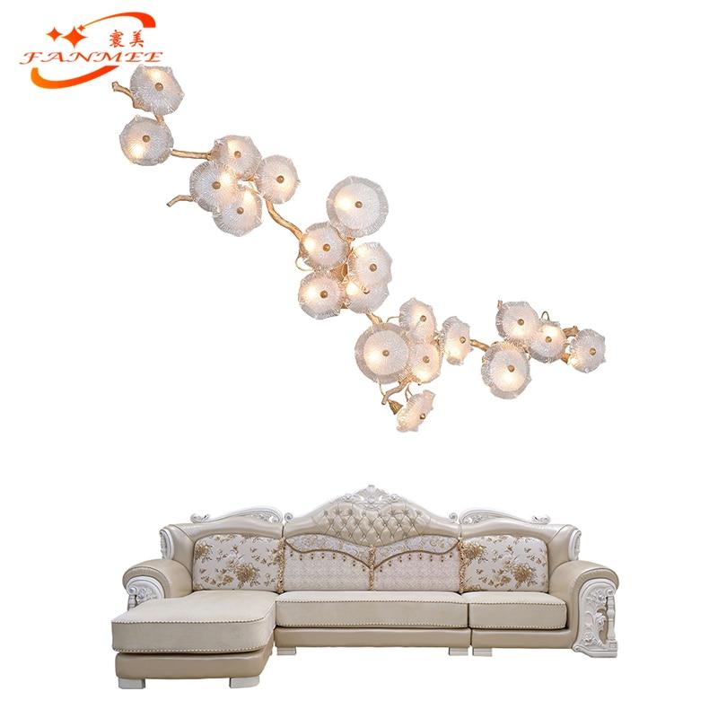 Роскошный медный филиал настенный светильник светодиодный настенный светильник стеклянный медный настенный светильник для спальни гости