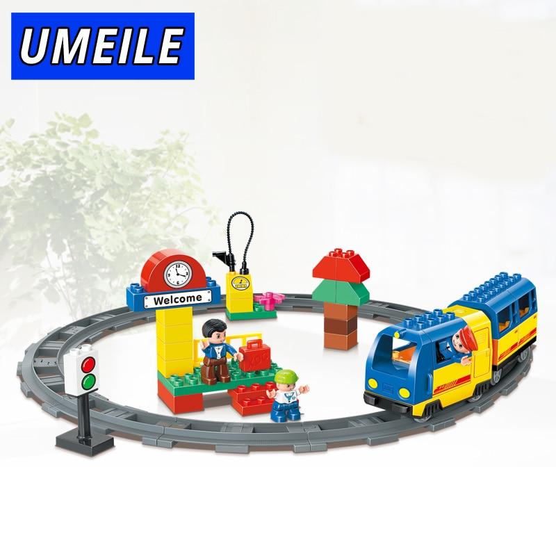 UMEILE 51 PCS Original Track Electric Train School Bus Conductor Boy Big Block Brick Set Baby Toys Compatible with Duplo