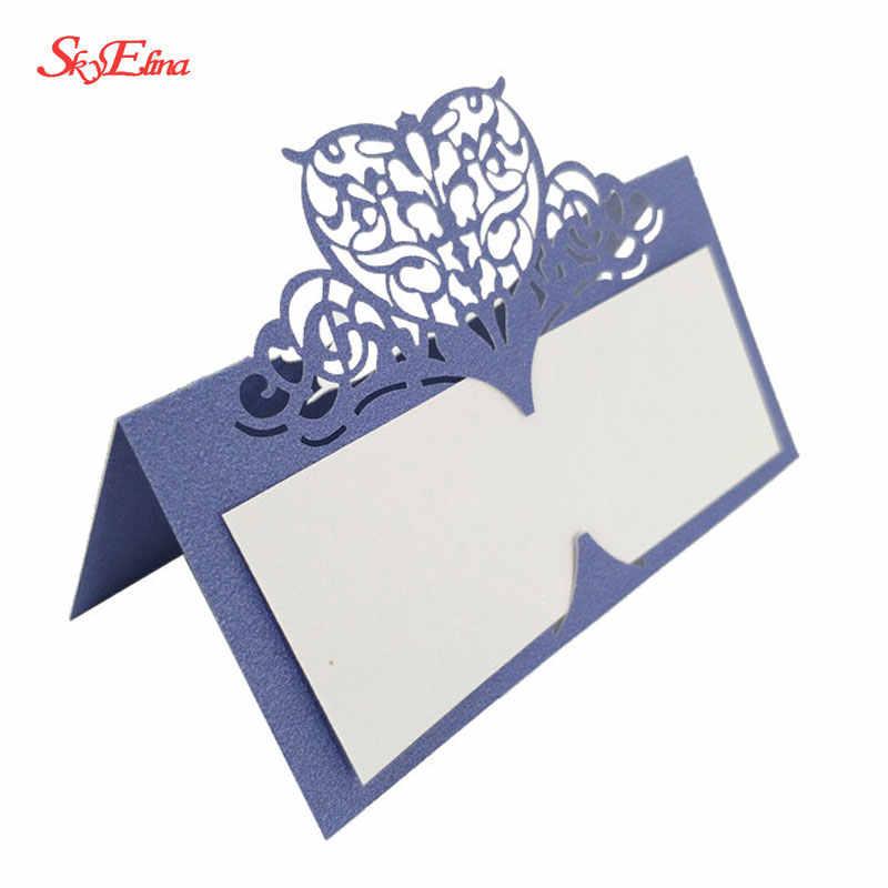 10/50/100 Uds. Tarjeta de mesa de boda papel forma de corazón cortado por láser tarjeta con nombre para mesa lugar tarjeta decoración para fiesta de boda Favor Tarjeta de asiento