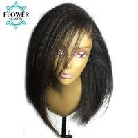 וflowerseason 13x6 פאות תחרה מול בוב קצר ישר יקי עם שיער רמי ברזילאי תינוק שיער קשרים מולבן ו קטף מראש 130%