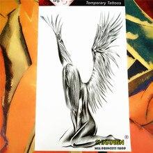 SHNAPIGN Angel Wings Temporary Tattoo Body Art, 12x20cm Flash Tattoo Stickers, Waterproof Fake Tatoo Henna Tatto Wall Sticker