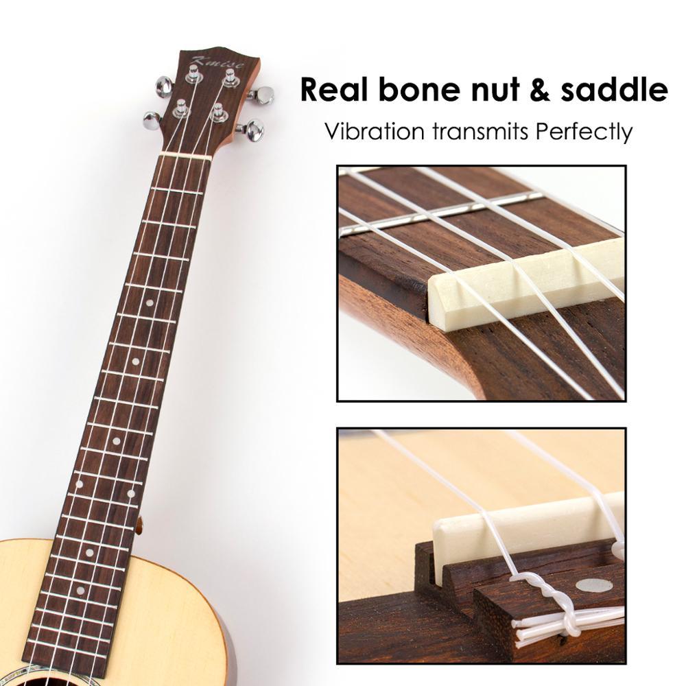 Kmise baryton ukulélé épicéa massif 30 pouces Ukelele Uke 4 cordes Hawaii guitare - 5