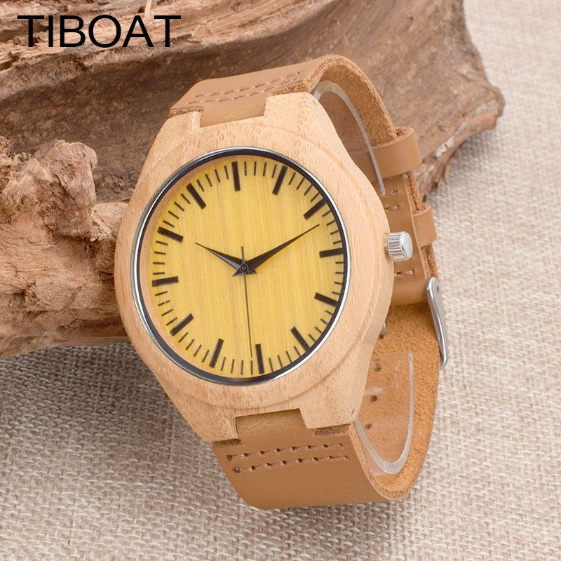 TIBOAT Men Watches Top Brand Luxury Bamboo wood Clock Male Genuine Leather Strap Casual Quartz Watch Men Sports Wrist Watch