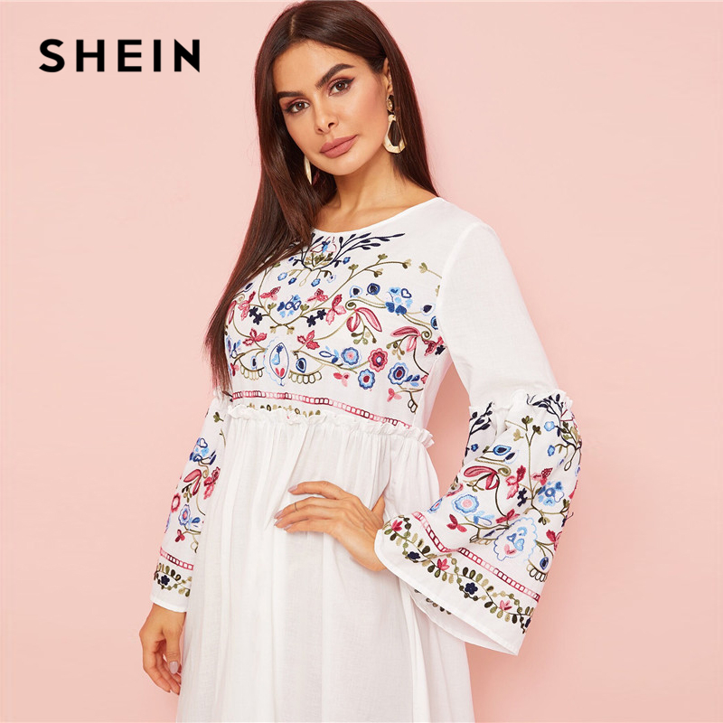 Shein Abaya Flower Embroidered Frilled Trim Bell Sleeve Dress Women's Dresses Women's Shein Collection