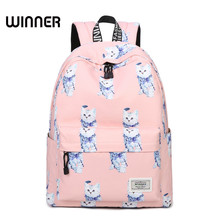 Новый корейский стиль женский розовый милый кот узор школьный рюкзак Водонепроницаемый модные Для женщин Школа Книга Сумки