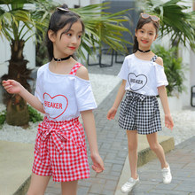 Get more info on the Summer Kids Girl Beauty Clothing Set Tshirt+Shorts Korean School Children Clothing Set For Girls Fashionable Clothes 2Pcs