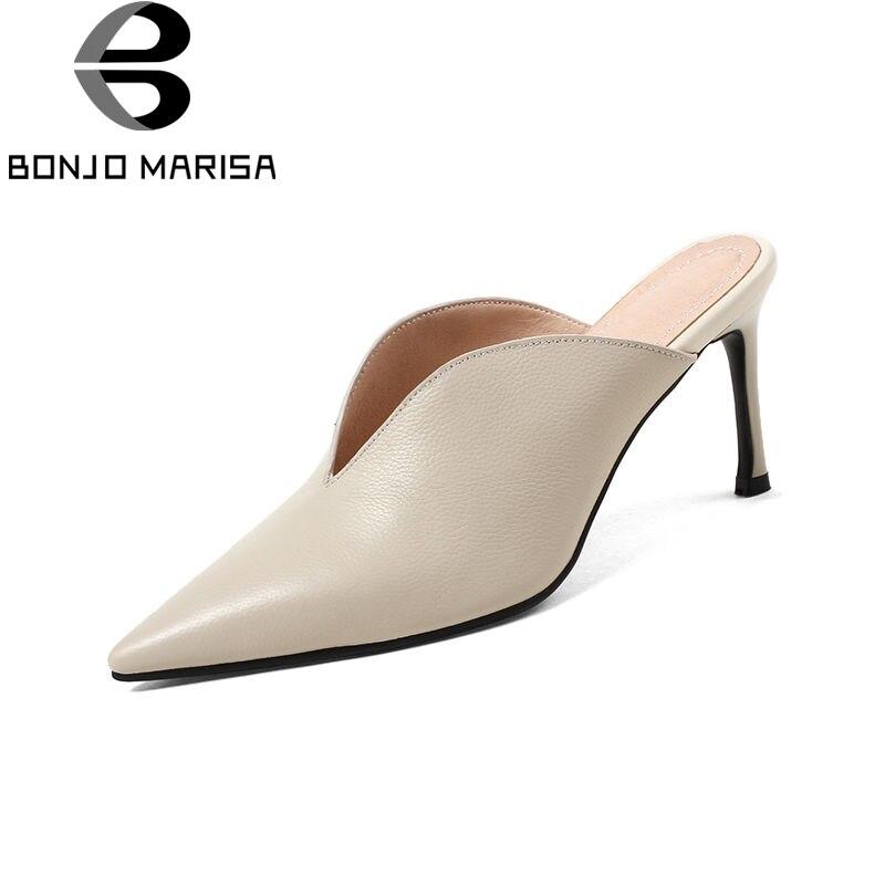 BONJOMARISA 2019 verano moda talla grande 33 43 cuero genuino mujeres mulas Zapatos de tacón alto Maduro zapatos casuales zapatos de mujer-in Zapatos de tacón de mujer from zapatos    1