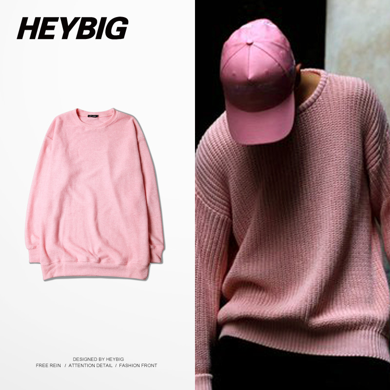 GD Same Paragraph Sweaters 15FW Heybig Brand Retro Pink Knit Sweater Hiphop  OVERSIZE Korean High Street