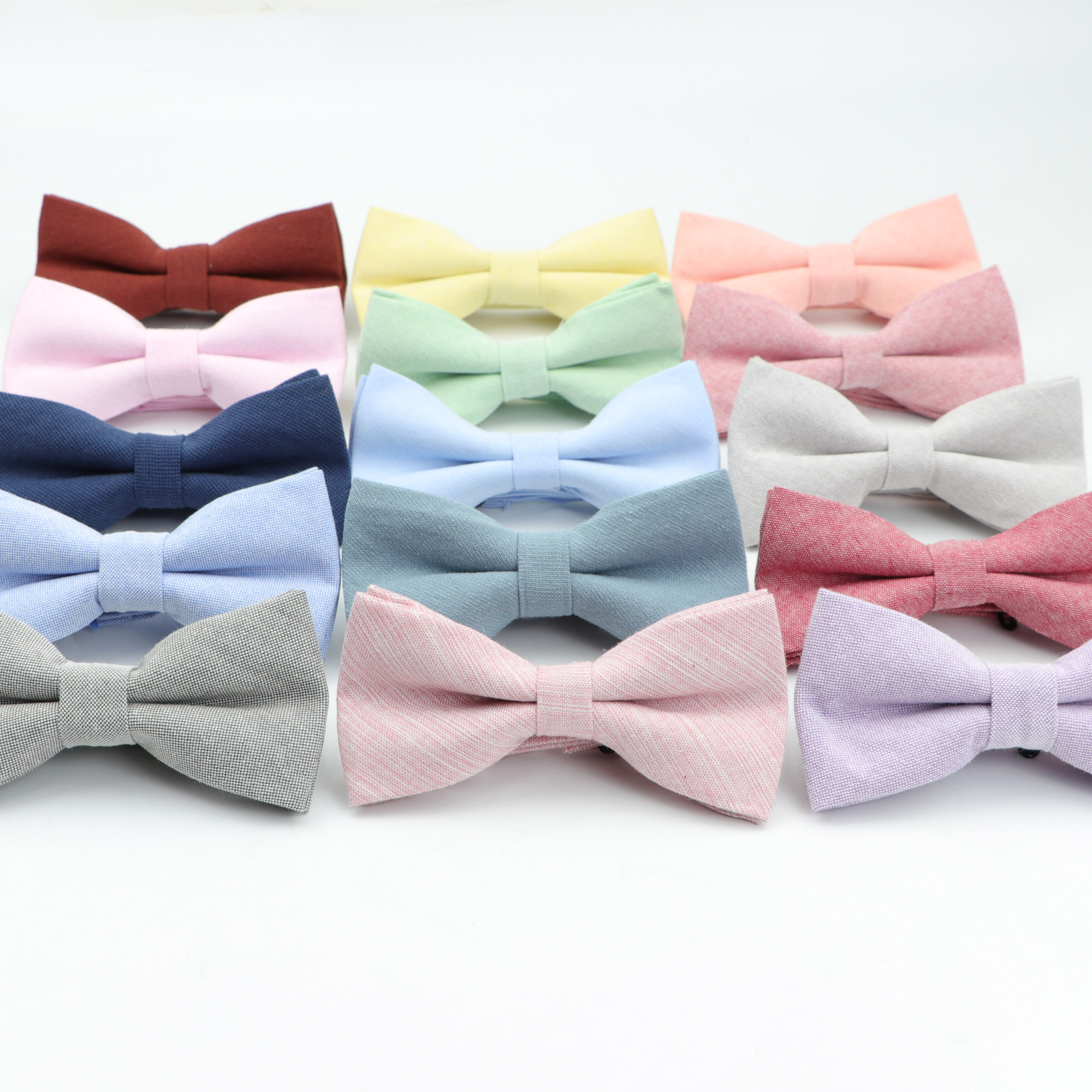 Solid Color Bow Tie Cotton Flexible Bowtie Smooth Necktie Soft Pure Colorful Butterfly Decorative Pattern Ties