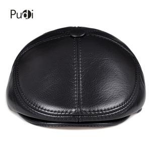Image 2 - HL093 F genuine leather men berets cap hat CBD high quality fashion mens real leather baseball caps winter warm hats