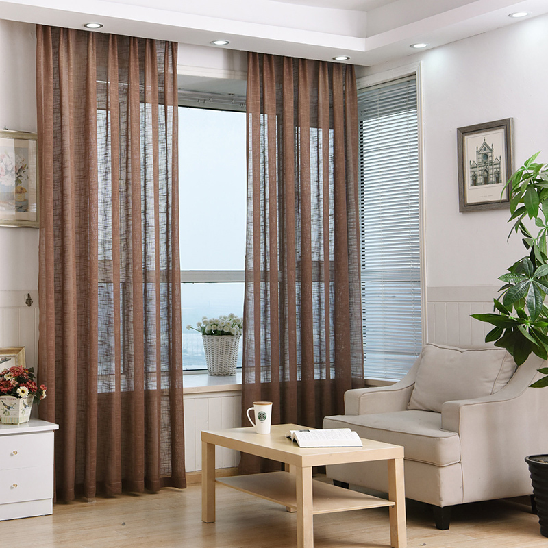 moda moderna barato tulle cortinas cortinas translcidas saln decoracin polister baha cortinas para el dormitorio marrn