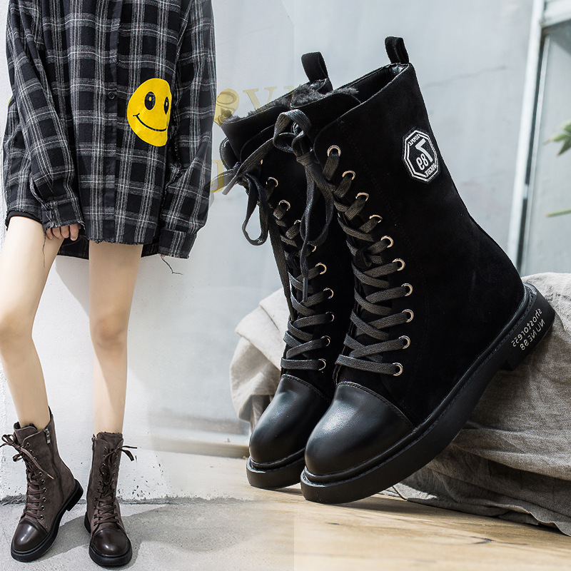 Size35-40 womens thick with motorcycle boots 2018 autumn and winter fashion round head with fighting Martin boots ladies shoesSize35-40 womens thick with motorcycle boots 2018 autumn and winter fashion round head with fighting Martin boots ladies shoes