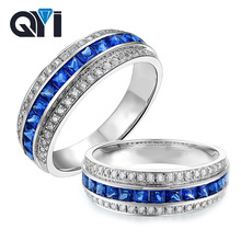 QYI Princess Cut Square Blue Stone Rings 925 Sterling Silver Rings for Women Engagement Wedding Jewelry Rings Lover Gifts