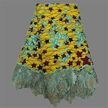 Hübsche blumenstickerei wachs material Afrikanische echt gedruckt wachs spitze stoff für abendkleid (6 yards/lot) WLF68 kostenloser versand