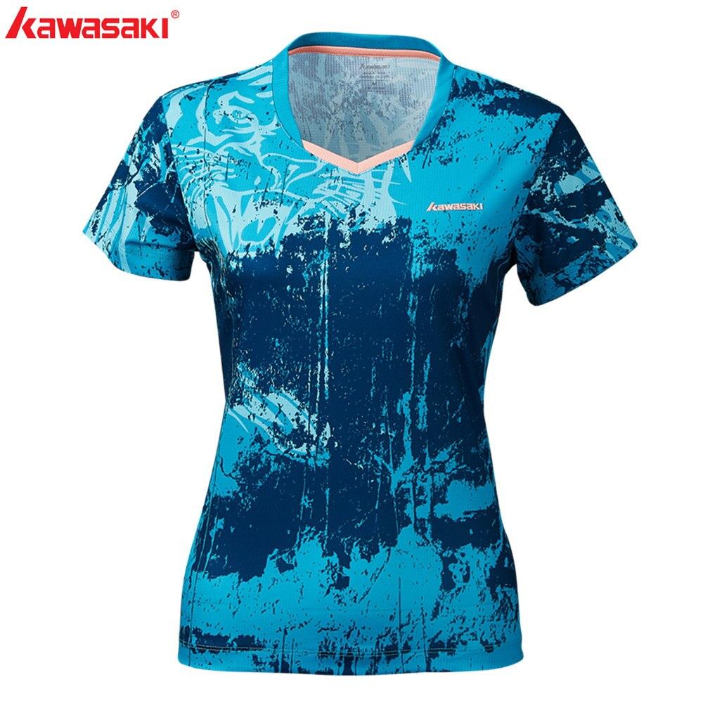 KAWASAKI Summer Gym Fitness Women Outdoor Sports T Shirt Quick Dry Short Sleeve Running Badminton Table Tennis T Shirt ST S2120 in Tennis T Shirts from Sports Entertainment