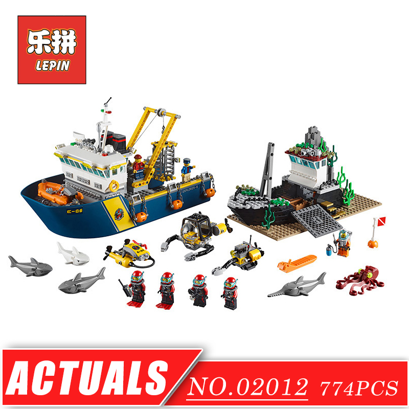 LEPIN 02012 Creative City Series Deepwater Exploration Vessel DIY Set Model Building Kits Blocks Bricks Children Toys Hobbies 774pcs city deep sea explorers 02012 model exploration vessel building blocks bricks children toys ship kit compatible with lego
