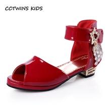 CCTWINS ENFANTS 2017 Bébé Fille Partie Peep Toe Enfants Mi talon Enfant Mode Noir Chaussures Enfant Strass Pu Chaussures En Cuir G1140