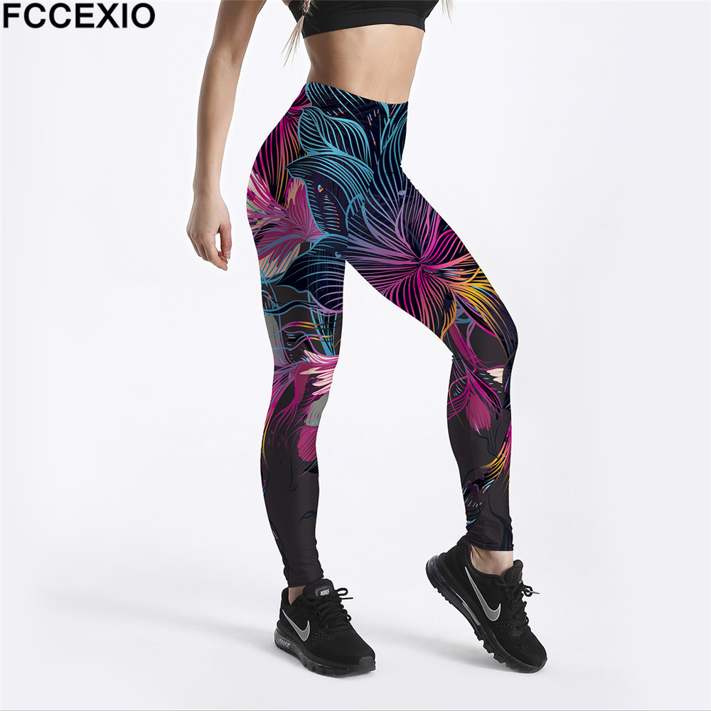 FCCEXIO New Workout   Leggings   High Waist Fitness   Legging   Floral Lines Printed Leggins Female Leg Pants Women Slim Gothic   Leggings
