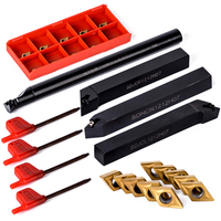 10pcs DCMT070204 Carbide Insert 4pcs 12mm Lathe Boring Bar 4pcs Wrench Practical CNC Turning Tool