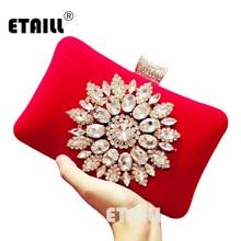 ETAILL Luxurious Diamond Red Flannel Evening Bag Rhinestone Wedding Bridal Velour Clutch Chain Female Pouches Banquet