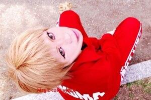 Image 1 - Anime Haikyu!! Volleyball Morisuke Yaku Cosplay Wig Short Linen Blonde Heat Resistant Synthetic Hair Wig + Wig Cap