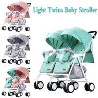 Licht Gewicht Twin Kinderwagen Baby Kinderwagen voor Twee Baby 'S Kan Zitten Kan Liggen Kinderwagen 4
