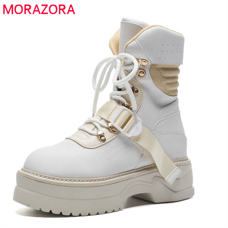 MORAZORA 2020 new arrival genuine leather ankle boots for women lace up platform boots fashion punk