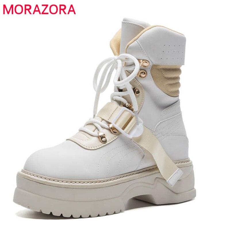 MORAZORA 2020 new arrival buty do kostki ze skóry naturalnej dla kobiet zasznurować platformy buty moda punk jesień buty płaskie buty w Buty do kostki od Buty na  Grupa 1