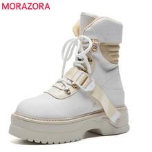 MORAZORA 2020 הגעה חדשה קרסול מגפי נשים תחרה עד פלטפורמת מגפי אופנה פאנק סתיו מגפי נעליים שטוחות