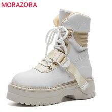 Morazora 2020 Mới Đến Mắt Cá Chân Giày Cho Nữ Phối Ren Nền Tảng Giày Bốt Thời Trang Punk Thu Giày Flat