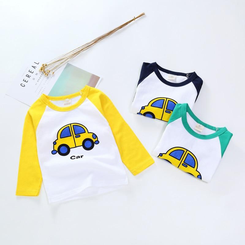 New Spring Boys Girls Cartoon Cotton T Shirts Children Tees Boy Girl Long Sleeve T Shirts Kids Tops Brand Baby Clothes 12M-8Y 34
