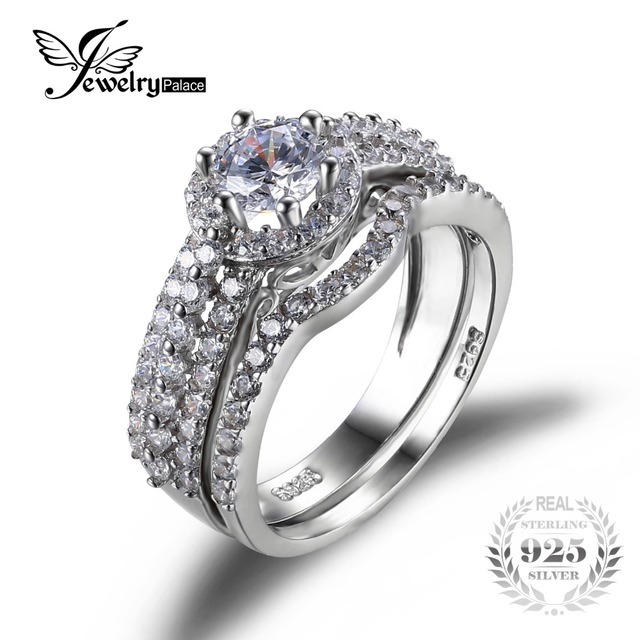 JewelryPalace 925 Sterling Silver 2ct Cubic Zirconia Anniversary Wedding Band Engagement Ring Bridal Sets Fine Jewelry For Women