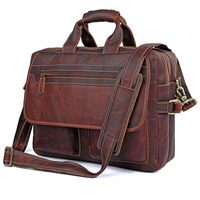 Briefcase Men S Style Leather Casual Male Mad Horse Skin Retro Brown Leather Men S Business