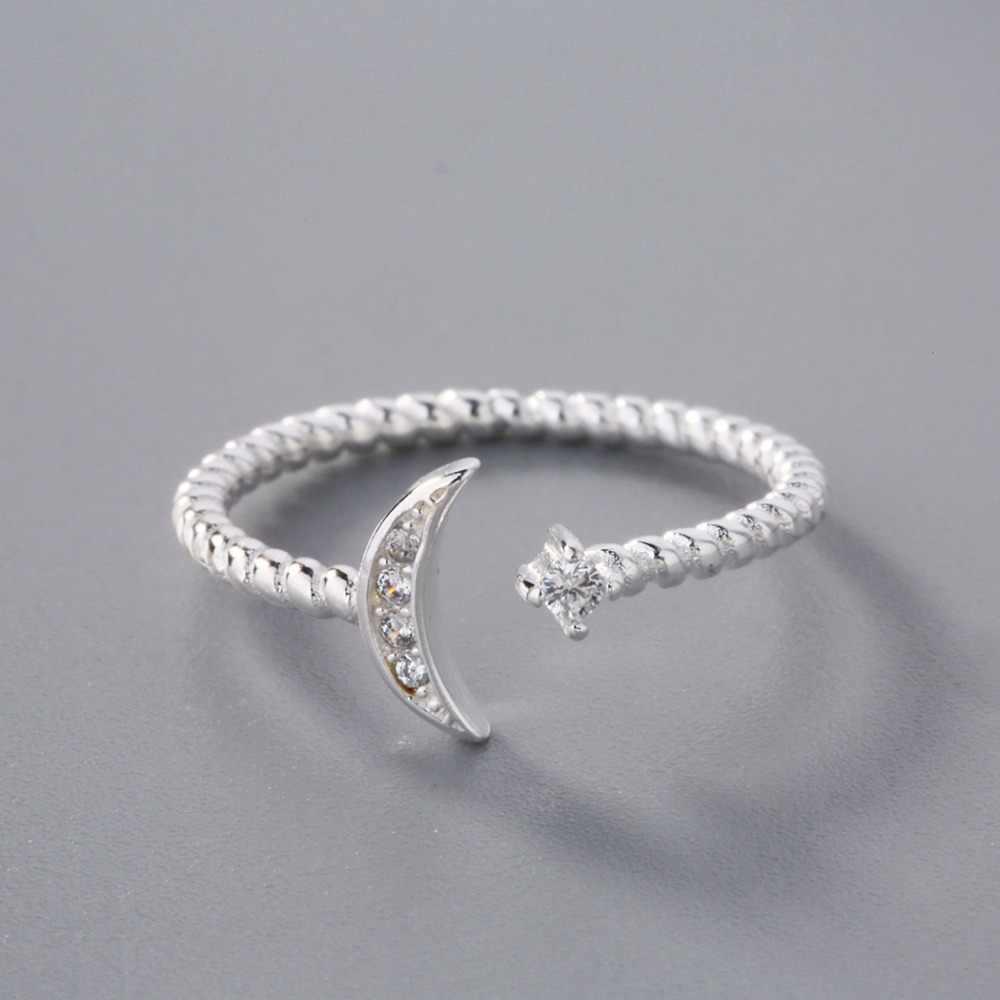 QIAMNI CZ витой Циркон полумесяц кольцо со звездами рождественские ювелирные изделия в стиле минимализма для женщин девушке Подвески подарок
