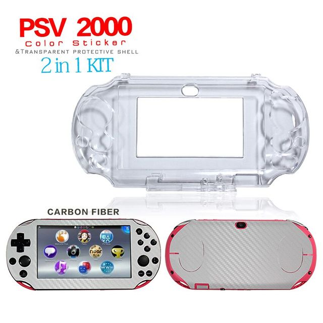 Ivory carbon fiber skin sticker clear protective case shell for sony ps vita 2000