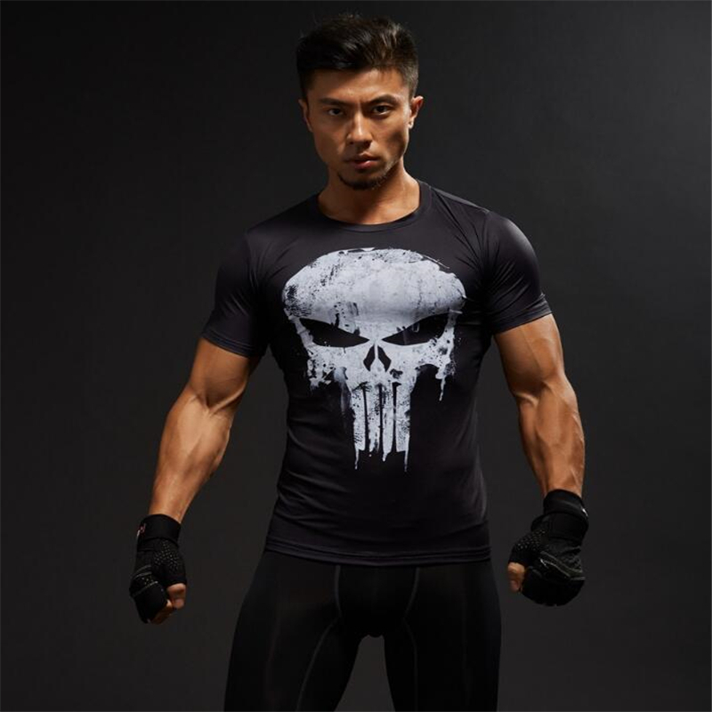 TUNSECHY Compression Shirts Men 3D Printed T-shirts Short Sleeve Fitness Body Building Male Crossfit Tops Punk Skull Skeleton