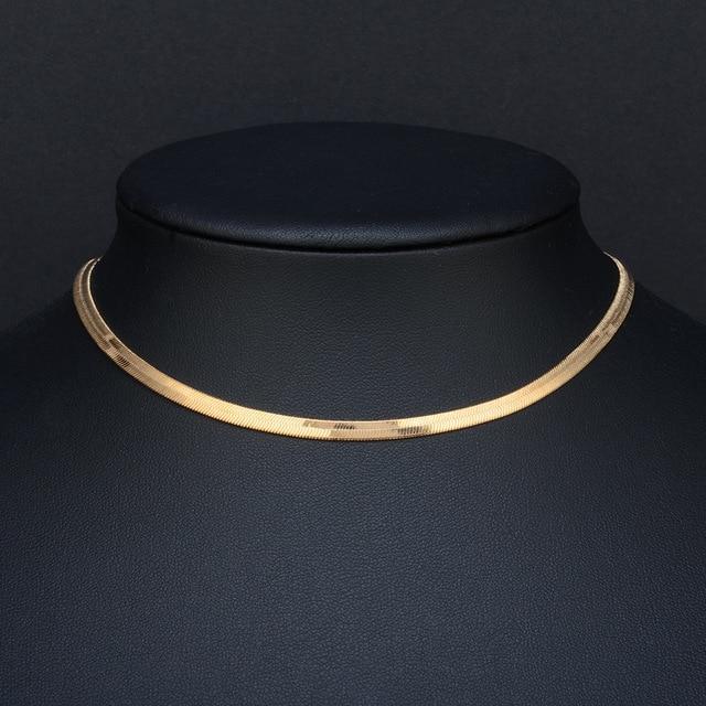 8b7004c670e Or et argent couleur 3mm de large collier homme bijoux femme clavicule lame  courte chaîne argent