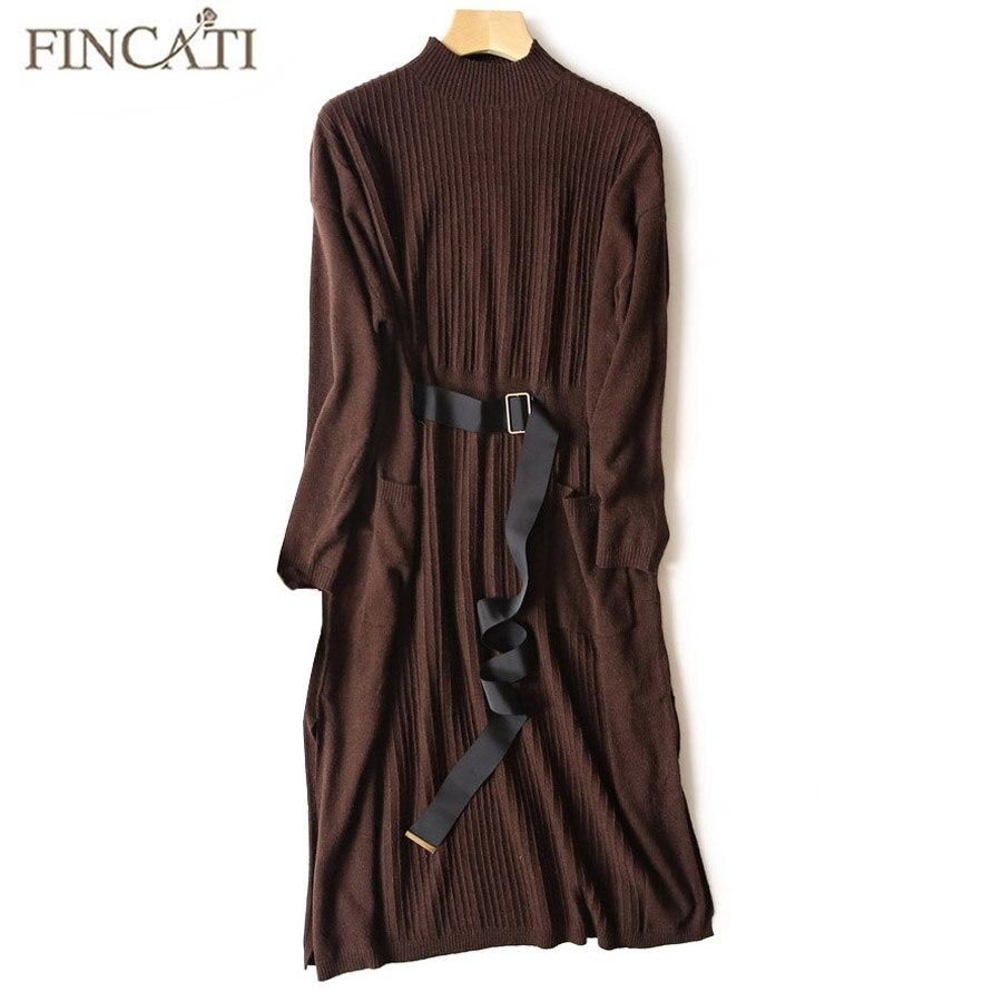 купить Women Sweater Dress 2018 Autumn Winter 100% Pure Cashmere Half Turtleneck Striped Knitted Mid-Calf Fitted Waist Belt Dresses недорого
