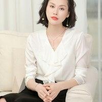 100% Silk Blouse Women White Shirt Classic Design Solid V Neck Ruffles Long Sleeves Office Tops Elegant Style 2018 New Fashion