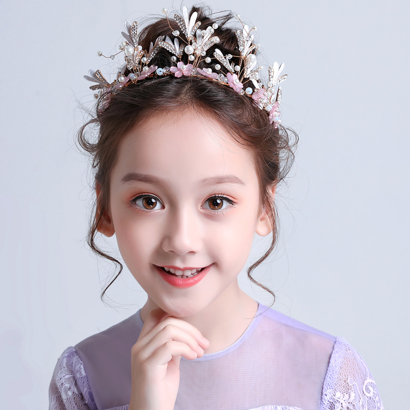 Princess Girl Crown Crown Big Headband Pink Ice Romance Kids Birthday Hair Accessories  Baby Girl Headbands(China)