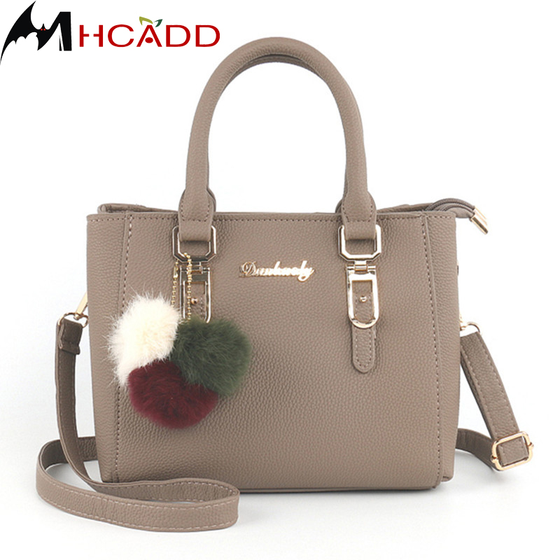 MHCADD Women Hairball Ornaments Leather Shoulder Bag Women Famous Brand Luxury Handbag Designer Crossbody Bag for Women Small