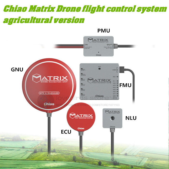 Chiao Matrix drone flight control system agricultural version FMU + PMU + GNU + ECU + NLU for DIY Agriculture UAV naza m lite multi flyer version flight control controller w pmu power module