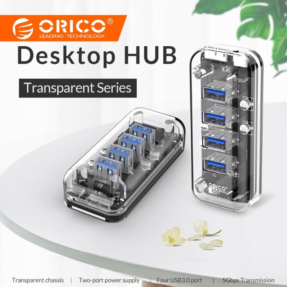 ORICO escritorio transparente HUB USB 3,0 de 4 puertos de alta velocidad de 5 Gbps con cargador de energía para teléfono móvil Windows Mac linux PC portátil